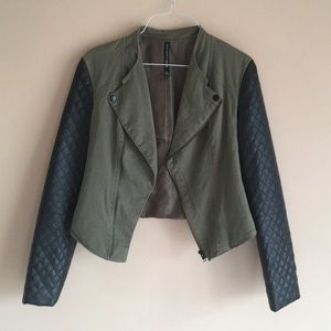 Olive green and black cropped jacket